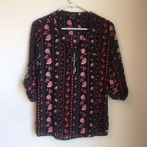 Black and red paisley-floral business casual top